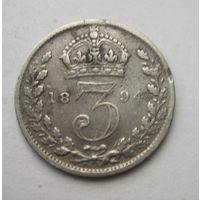 Великобритания, 3 пенса, 1894, серебро