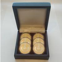 Футляр для 6 монет 1 рубль NiCu или 10 рублей Ag d=37.00 mm деревянный