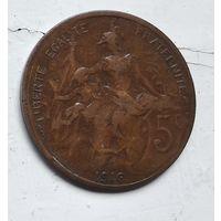 Франция 5 сантимов, 1916 звезда 3-12-12