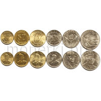 Заир (Конго) 6 монет 1976-1988 годов.