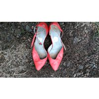 Туфли СССР красные кожаные, винтаж, ретро