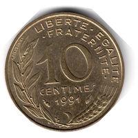 Франция. 10 сантимов. 1991 г. (соотношение сторон 180)
