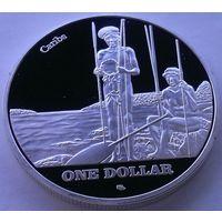 Остров СЕНТ-ДЖОН (ВИРГИНСКИЕ Острова) 1 доллар 2015 год (посеребрение)