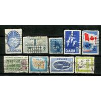 Канада - 1955, 1958, 1962, 1963, 1964, 1967 - Полные серии [Mi. 303, 323, 329, 332, 344, 357,360, 397, 414] - 9 марок. Гашеные. (Лот 15S)