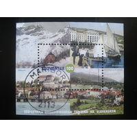 Словения 2005 горы, город, лодки под парусом  блок