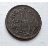 """Италия 10 чентезимо, 1866 """"N"""" - Неаполь 4-15-25"""