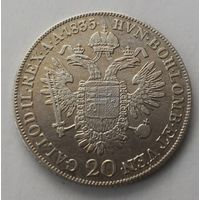 20 крейцеров 1835 г. С. Австрия.  Серебро.