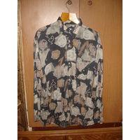 Рубашка мужская в цветы р-р 43 (XL) винтаж 80-90 гг
