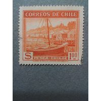 Чили. Рыбацкая лодка. 1938г. гашеная