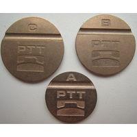 Телефонный жетон Словения PTT A, B, C. Цена за комплект (v)