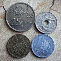 Испания. 4 монеты 1949-1988 г.