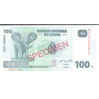 YS: Конго, 100 франков 31.07.2007, SPECIMEN, UNC
