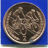 Остров Мэн 2 пенса 1996 UNC , Велоспорт