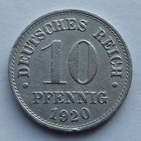 Германия - Германская империя 10 пфеннигов. 1920