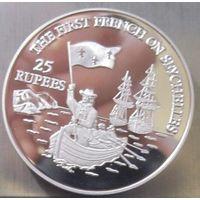 Республика Сейшельские острова. 25 рупий 1993. Серебро (410)
