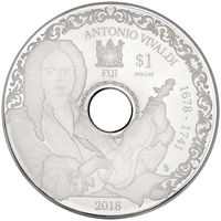 """Фиджи 1 доллар 2018г. """"Антонио Вивальди"""". CD монета с возможность воспроизведения. Монета в тематическом подарочном футляре; сертификат; коробка. СЕРЕБРО 15,50гр."""