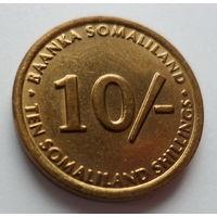 """Сомалиленд 10 шиллингов 2002 """"Карликовая зелёная мартышка"""""""