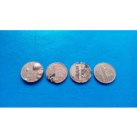 Брак 1 копейка 2009 года Беларусь  (Состояние на фото) В одном лоте 4 монеты