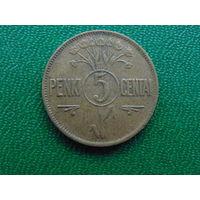 Литва 5 центов 1925 год.