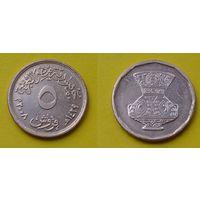 Египет 5 пиастр 2008г. покрытие медь, монета 2