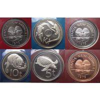Папуа-Новая Гвинея. Набор 8 монет 1975 года в конвертах с марками.   S.16
