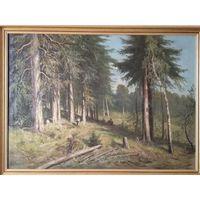 Старинная картина маслом в стиле художника Ивана Шишкина.Начало XX-го века. Холст.Размер-96.5х66.5.
