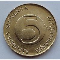 Словения 5 толаров. 1998