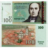 Литва. 100 лит (образца 2007 года, P70, XF) [серия AC]