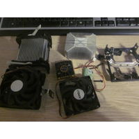 Радиатор охл. процессора 3шт + 2 кулера+радиатор и кулер для охл.чипсета+крепежи