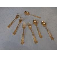 Набор столовых приборов 7 предметов: 2 чайных ложки + 4 вилки для десерта + ложка для сахара Nivella Rostfrei Германия.