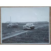 Начальство приехало. Автомобили в поле. Фото 1950-60-х. 8.5х11.5 см