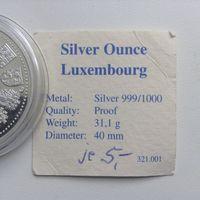 Люксембург настольная медаль ввод евро. Серебро 1000 пробы.