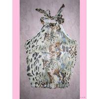 """Шифоновый топ """"Белый леопард"""" с завязками вокруг шеи, р.XL/XXL"""