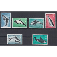 Фауна. Дельфины. Фолкленды. 1980. Полная серия. Michel N 295-300 (5,5 е)