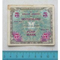 Банкнота 5 Марок 1944 год оккупация Германии