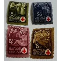 Венгрия, 1942, Mi#691-4,война Красный Крест медицина:забор крови, перевязка, ранение почта