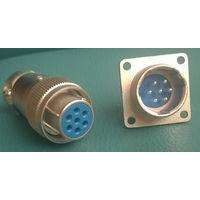 Разъем цилиндрический 7 пин. 16мм (комплект вилка+розетка+кожух) Аналог ШР 2РМ. DS1110-04-07-LYN
