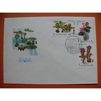 КПД (серия из 3 конвертов), Сущенко И., Флора. Водные растения; 1983, 1984; чистые (+марки, +СГ, Москва).