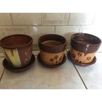 Цветочные горшки СССР ( цена за один) глиняные с тарелочкой