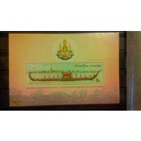 Корабли, парусники, транспорт, флот, фауна, слоны, гербы, пейзажи, архитектура, моренистика, марки, Тайланд, 1996, блок
