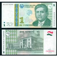 Таджикистан 1 сомони 2010 (1999) зеленый глобус UNC