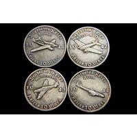 Набор 4 монеты 10 рейхсмарок 1941-1944 ГЕРМАНИЯ Самолеты Люфтваффе