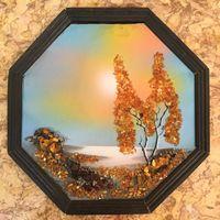 Картина Золотая Осень, янтарь