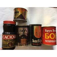 Банки жестяные стекло упаковка от кофе и напитков СССР Цена указана за одну единицу. Для коллекции