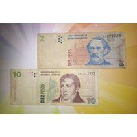 Аргентина 2 и 10 песо 2002г