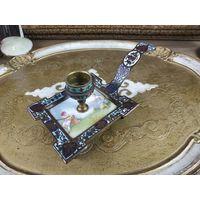 Старинный антикварный подсвечник бронза эмаль клуазоне XIX век Франция
