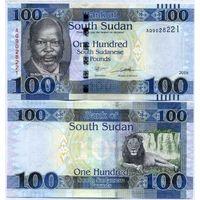 Южный Судан 100 фунтов 2019 года. Вариант подписей 2. Состояние UNC!