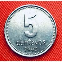 14-15 Аргентина, 5 сентаво 1993 г. Единственное предложение монеты данного года на АУ