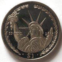 Британские Виргинские Острова 1 доллар 2002 года. 11 сентября 2001г