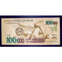 РАСПРОДАЖА С 1 РУБЛЯ!!! Бразилия 100 крузейро надпечатка на 100000 1993 год UNC